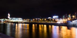 Fiume di Mosca, notte Fotografie Stock Libere da Diritti