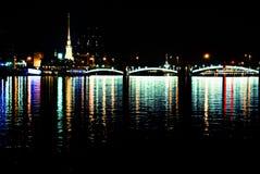 Fiume di notte Fotografia Stock
