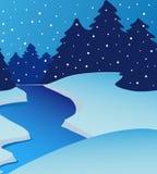 Fiume di paesaggio sull'inverno Illustrazione Vettoriale