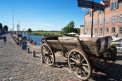 Fiume di Ribe e trasporto del cavallo Fotografia Stock Libera da Diritti