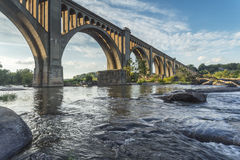 Fiume di Richmond Railroad Bridge Over James Fotografie Stock