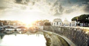 Fiume di Roma, del Vaticano e del Tevere Fotografia Stock Libera da Diritti
