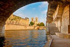 Fiume di Seine e del Notre Dame Fotografie Stock Libere da Diritti