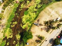 Fiume di Siem Reap un giorno soleggiato immagine stock