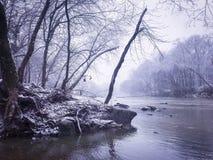 Fiume di Snowy Fotografia Stock Libera da Diritti