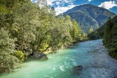 Fiume di Soca in Slovenia Fotografia Stock Libera da Diritti