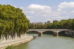 Fiume di Tiber a Roma Fotografia Stock