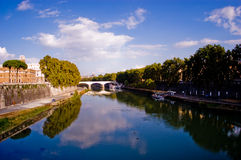 Fiume di Tiber a Roma, Italia Fotografia Stock Libera da Diritti