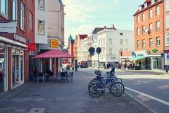 Fiume di Trave, vecchia città di Lubek germany Fotografia Stock