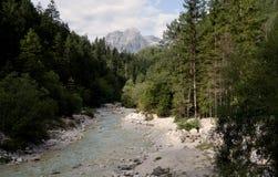 Fiume di Triglavska Bistrica nella valle di Vrata nel parco nazionale di Triglav in Julian Alps Immagini Stock Libere da Diritti