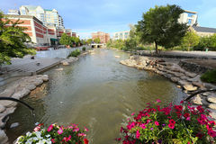 Fiume di Truckee a Reno del centro, Nevada Fotografia Stock Libera da Diritti