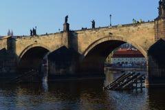 Fiume di Vltava a Praga Immagini Stock