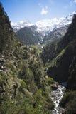Fiume di Yamuna a Yamunotri, Himalaya di Garhwal, Uttarkashi Distric Fotografia Stock