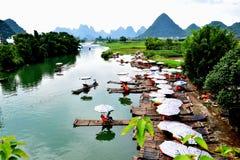 Fiume di Yulong, Yangshuo, Guilin Fotografie Stock Libere da Diritti