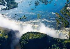 Fiume di Zambezi e Victoria Falls Fotografie Stock
