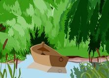 Fiume e barca Immagine Stock