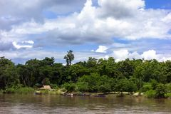 Fiume e barche di Mekok Fotografia Stock Libera da Diritti