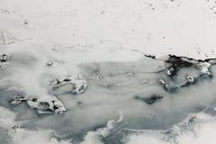 Fiume e ghiaccio congelati Fotografia Stock Libera da Diritti