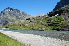 Fiume e lago a Trollstigen, no Immagini Stock Libere da Diritti