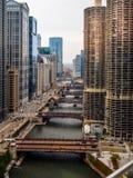 Fiume e ponti del centro di Chicago Fotografia Stock