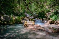 Fiume a flusso rapido della montagna nelle alpi europee Fotografie Stock Libere da Diritti