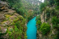 Fiume fra il canyon e la foresta Manavgat, Adalia, Turchia Trasportare turismo con una zattera fotografia stock libera da diritti