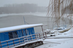 Fiume freddo 11 gennaio di Borcea Fotografie Stock Libere da Diritti