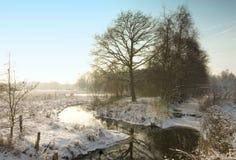 Fiume ghiacciato di orario invernale Immagine Stock Libera da Diritti