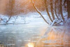 Fiume ghiacciato stretto che attraversa il paesaggio misto di inverno della foresta immagini stock libere da diritti