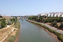 Fiume Gilao vicino a Tavira, Portogallo Fotografia Stock Libera da Diritti