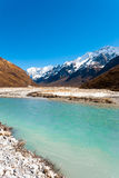 Fiume himalayano di punta delle montagne di Langtang Gangchenpo Fotografie Stock