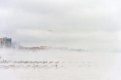 Fiume hudson nell'inverno con Misty Edgewater Cityscape nel fondo Fotografia Stock