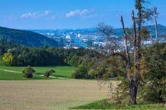 Fiume il Neckar con la vista a Stuttgart Fotografia Stock