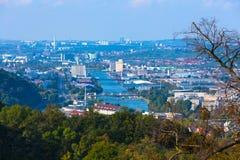 Fiume il Neckar nell'area di Stuttgart Immagini Stock Libere da Diritti