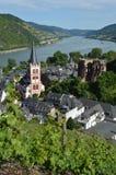 Fiume il Reno di spirito di Bacharach in Germania Fotografia Stock