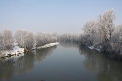 Fiume in inverno Fotografie Stock