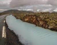 Fiume Islanda della silice e della strada Immagini Stock Libere da Diritti