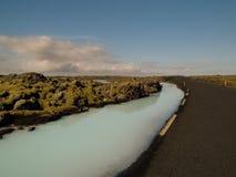 Fiume Islanda della silice e della strada Immagine Stock Libera da Diritti