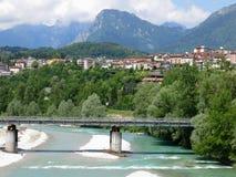 Fiume Italia del ponte di Belluno Fotografie Stock Libere da Diritti