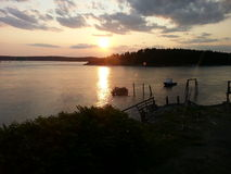 Fiume kennebec Georgetown di tramonto di Maine Immagini Stock Libere da Diritti