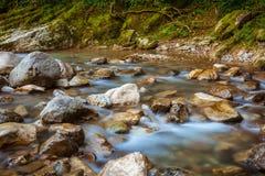 Fiume Khosta, portone della montagna del ` s del diavolo del canyon nella riserva caucasica di biosfera, Soci, Russia fotografia stock