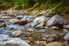 Fiume Khosta, portone della montagna del ` s del diavolo del canyon nella riserva caucasica di biosfera, Soci, Russia immagini stock libere da diritti
