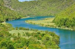 Fiume Krka nella sosta nazionale nel Croatia Immagini Stock