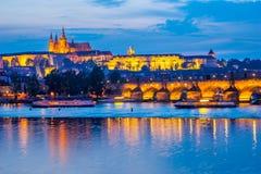 Fiume la Moldava, Charles Bridge Prague Czech Republic Fotografia Stock Libera da Diritti
