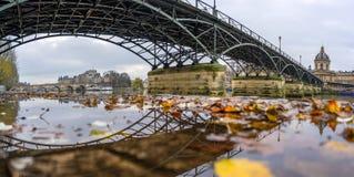 Fiume la Senna con Pont des Arts e Institut de France alla notte i fotografia stock libera da diritti
