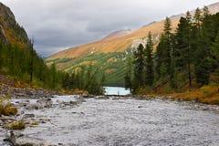 Fiume, montagne e legno. immagini stock libere da diritti