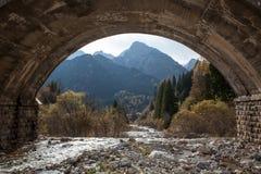 Fiume nei alpes sotto il ponte Fotografie Stock Libere da Diritti