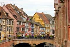 Fiume nel centro di Colmar in Francia fotografia stock libera da diritti