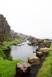 Fiume nel parco nazionale di Þingvellir Fotografia Stock