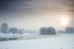 Fiume nell'inverno Fotografie Stock Libere da Diritti